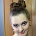 Зачіска бант з волосся на середні волосся - 9 фото
